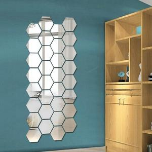 Crystal 3d mirror wall sticker 12pcs hexagon background wall decoration wall sticker acrylic mirror sticker