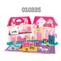 Lower price 2016 new product plastic barbie doll house miniature furniture set DIY toy for kids pretend chengahai free sample