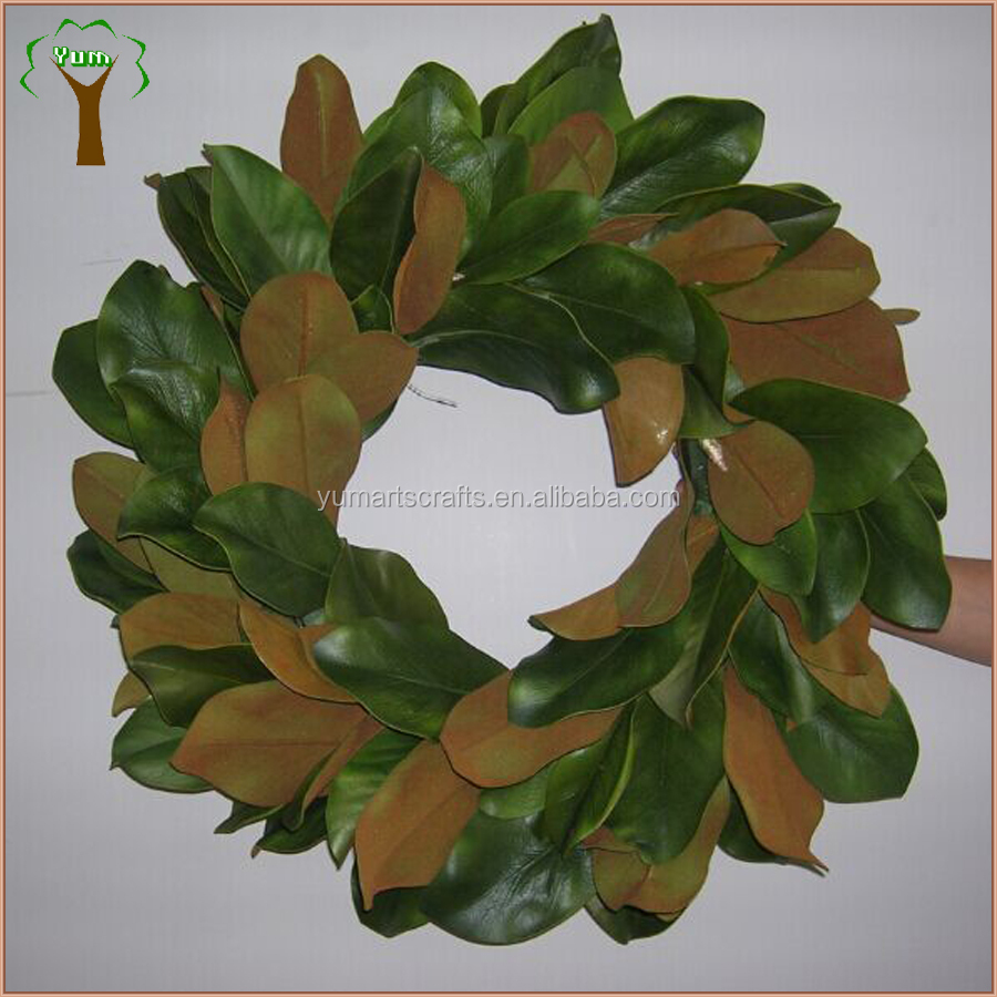 Top quality window display decorative artificial magnolia wreath