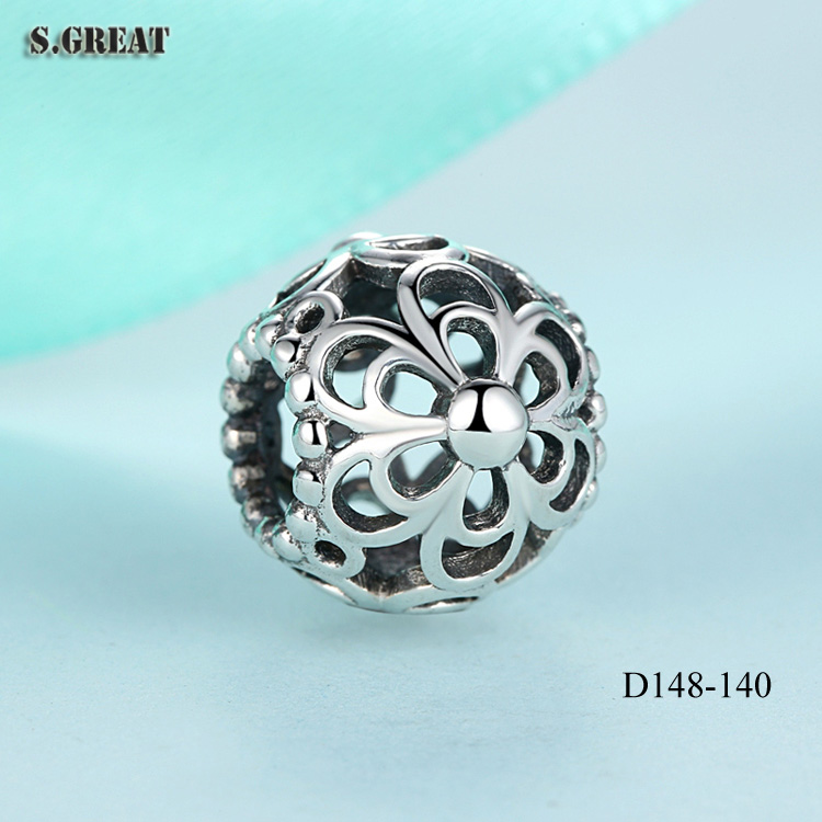 925 sterling silver OPENWORK PRIMROSE SILVER bracelet charms fit pandora charms bracelet 925 sterling silver beads charms