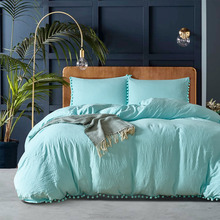 Acid Blue Washed Cotton Soft Microfiber 3-Piece Duvet Cover Set Bedding Set with Furry Little Balls
