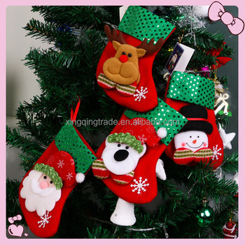 small sequins christmas stocking xmas decorations children gift candy bag santa claus socks christmas tree ornaments - Small Christmas Stocking Decorations