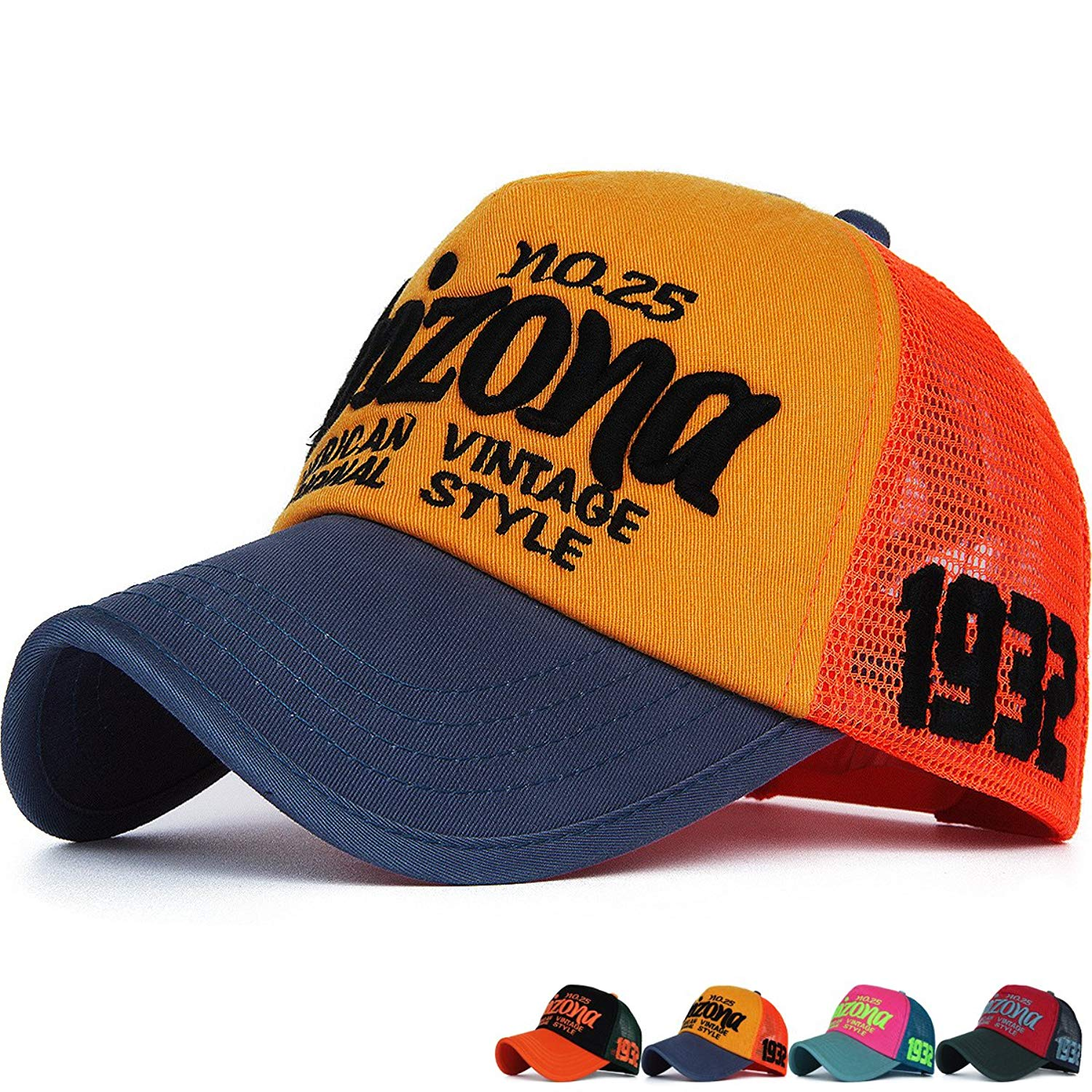 feaf611a3be0c5 Get Quotations · Rayna Fashion Mesh Snapback Trucker Hat Structured Curved  Brim Baseball Cap Dad Hat Embroidered