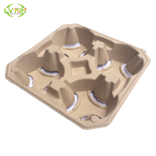 Dry pressing molded pulp inner packaging paper carry coffee cup tray