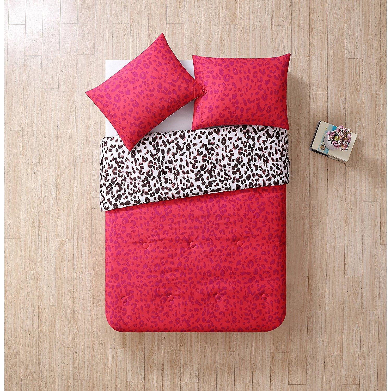 3 Piece Girls Hot Pink Purple Leopard Print Themed Comforter Full Set, Vibrant Cheetah Floral Printed Bedding, Wild Safari Animal Pattern All Over Orange Flower Pattern, Polyester