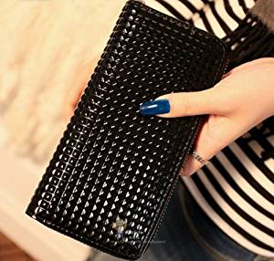 Big Mango Multi-purpose Fashion Glossy Small Check Print Cellphone PU Leather Bag and Clutch Zipper Wallet for Apple Iphone 4 4s Iphone 5 Iphone 5s 5c Galaxy S4 S3 with Metal Pendant and Inner Multiple Card Holders ( Black )