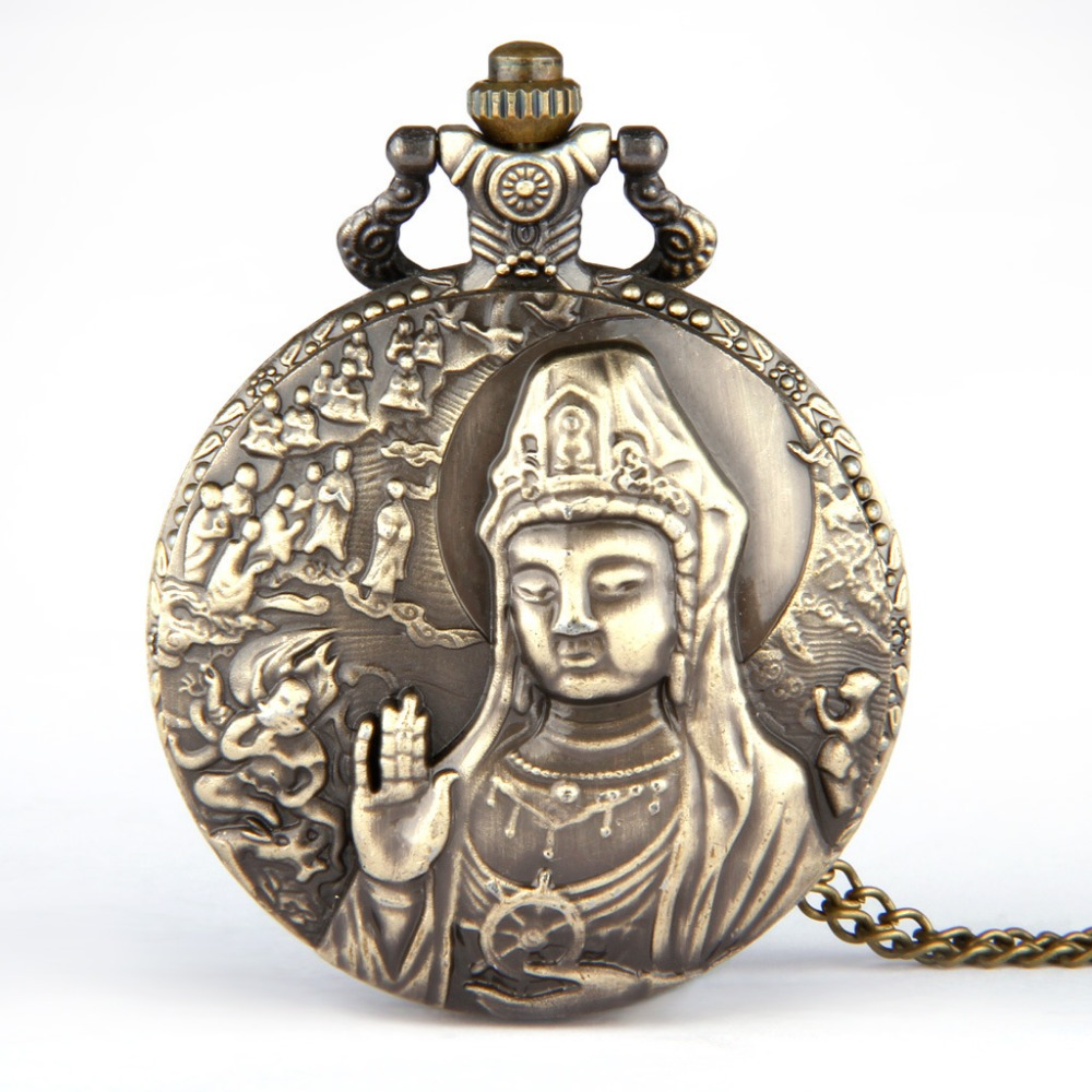 Hot selling Korean classic classic large relief Guanyin goddess watch pocket watch gift list fine chain manufacturers wholesale