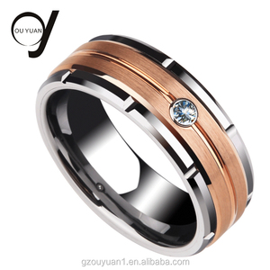Cheap Jewelry Wedding Band Silver Rose Gold Groove Tungsten Ring Jewelry with Big Stone