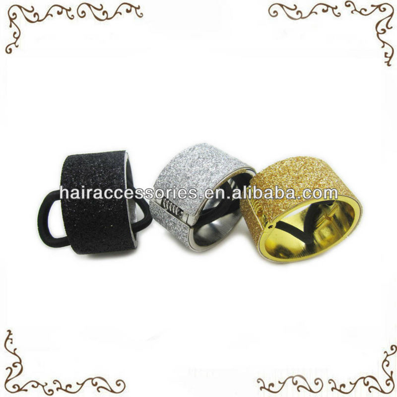 Hair ties with glitter metal cuffs