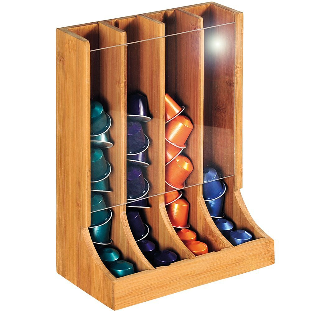 newest bamboo k cup dispenser coffee pod storage drawer