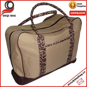 Cheap Price 600D Polyester Travel Weekend Bag Leopard Handle