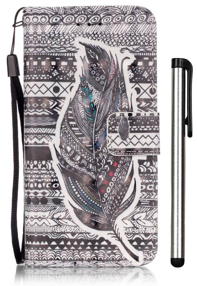 [3D Painting] iPhone 6S Plus Case, iPhone 6 Plus Case, Premium PU Leather Wallet Case Stand Cover for iPhone 6/6S Plus (5.5 inch) Aztec Tribal Feather