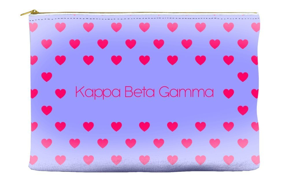 Kappa Beta Gamma Heart Pattern Purple Cosmetic Accessory Pouch Bag for Makeup Jewelry & other Essentials
