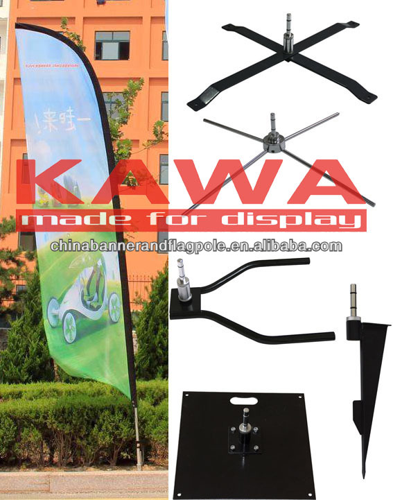 fiberglass pole swoooper flag feather banner with metal cross spike