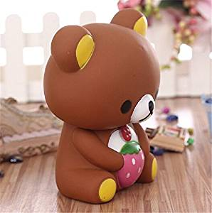 Cartoon strawberry bear Biscuit Bear piggy bank cute Creative Large piggy bank coin bank,Saving Money Box