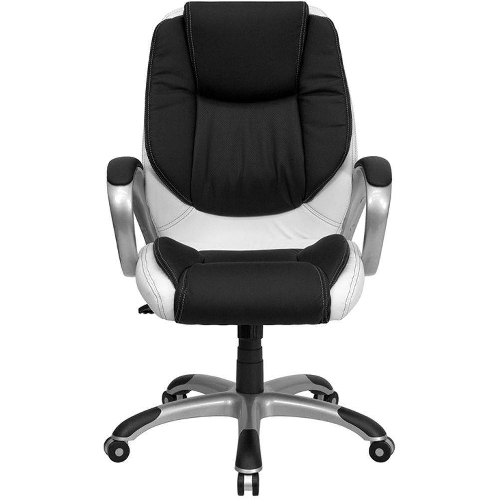 "Elmwood Bonded Leather Two-Tone Task Chair Dimensions: 28""W x 28""D x 39.50-42.50""H Seat Dimensions: 19""Wx19""D Black & White Bonded Leather Seat & Back/Titanium Nylon Base"