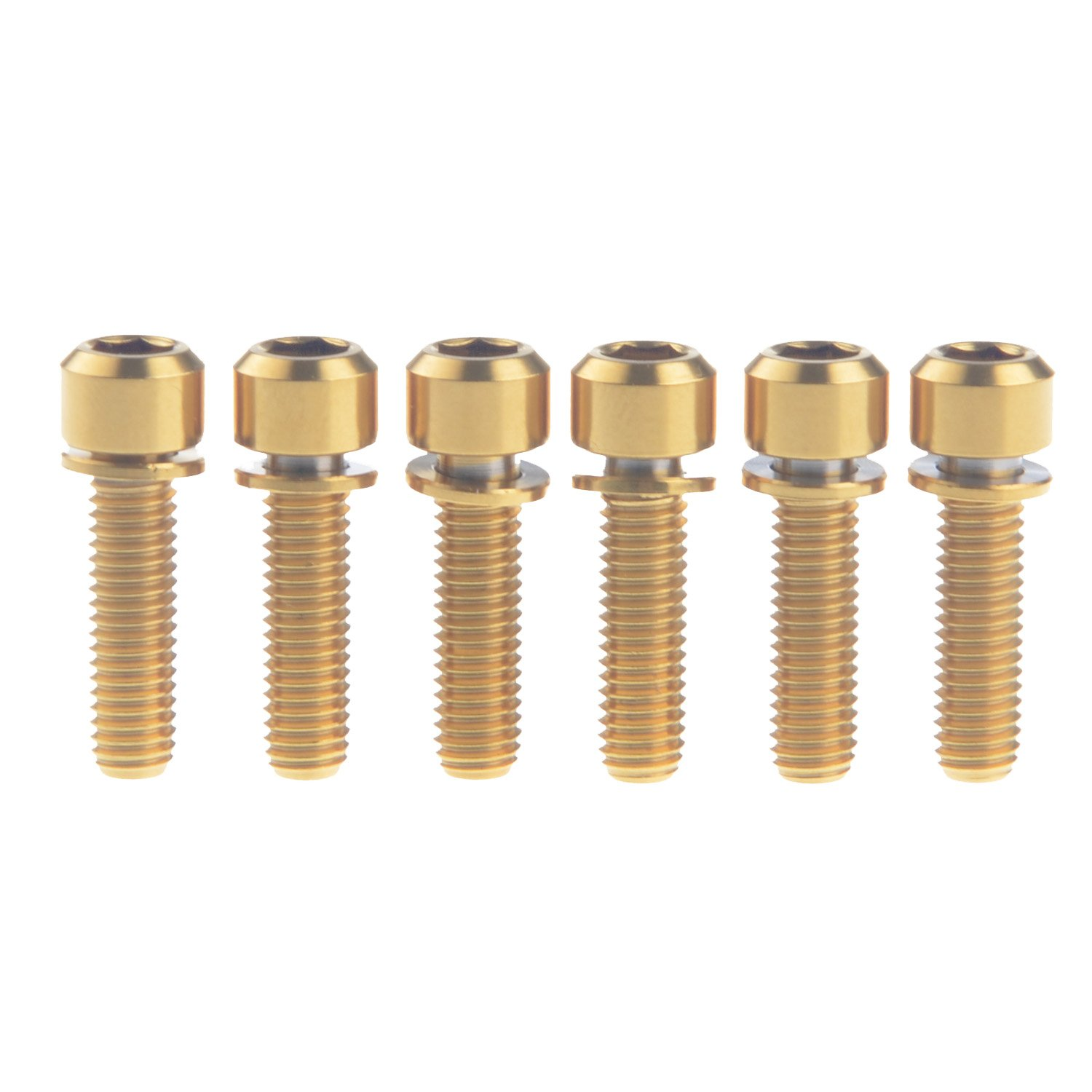 Wanyifa Titanium Ti Bicycle Stem M5x18mm Square Head Allen Head Gold Bolt with Washers pack of 6