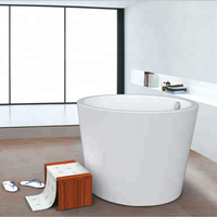 Modern Round Japanese High Acrylic freestanding round soaking bathtub White Deeply acrylic small bathtub with seat