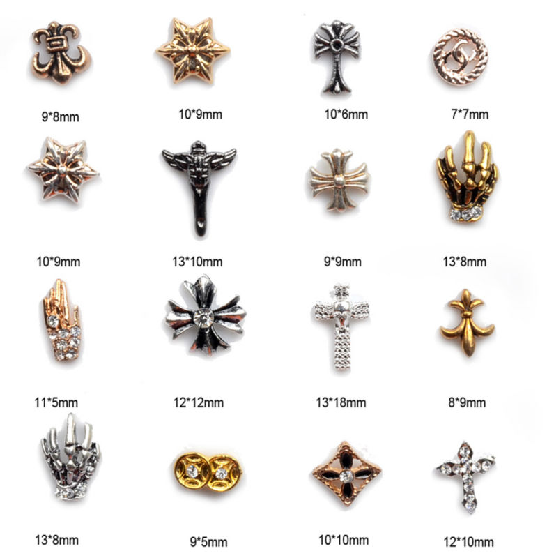 2014 Shiny Metallic Rhinestones Crystal 3D Alloy Nail Art Tips Decorations