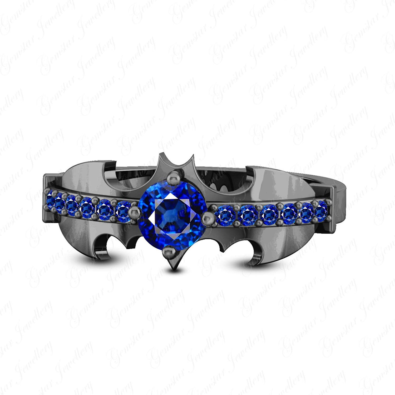 Gemstar Jewellery Round Shape Aquamarine 14k White /& Black Gold Plated Adjustable Bypass Toe Ring