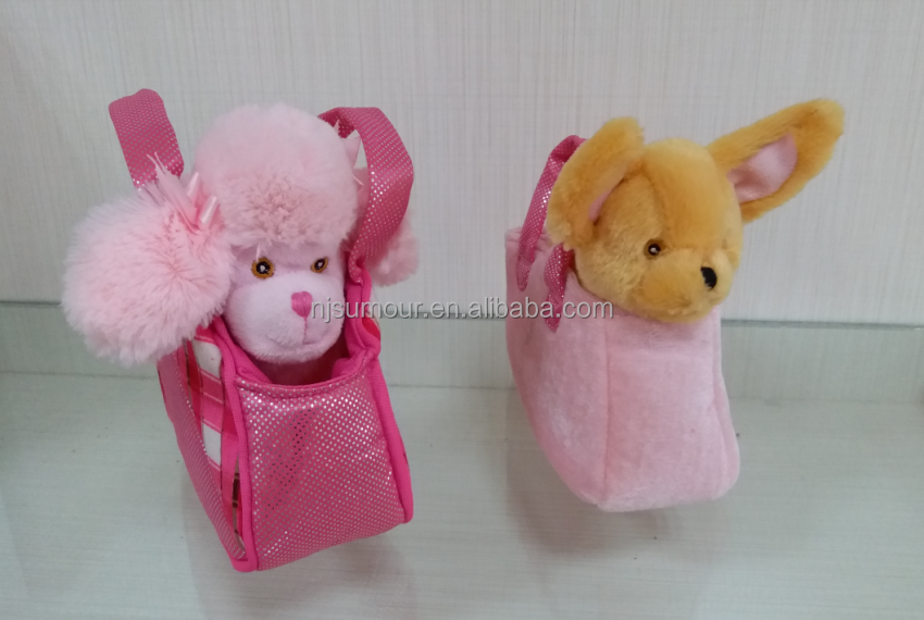 plush dog in bag plush Bag - Pink Poodle and her Friend