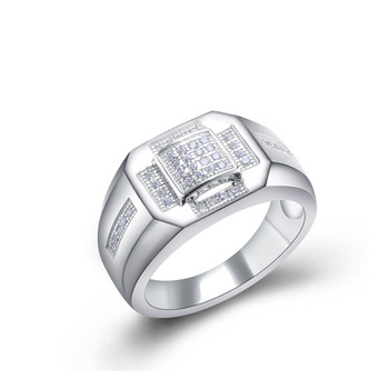 simple sterling silver wedding engagement diamond ring for man View