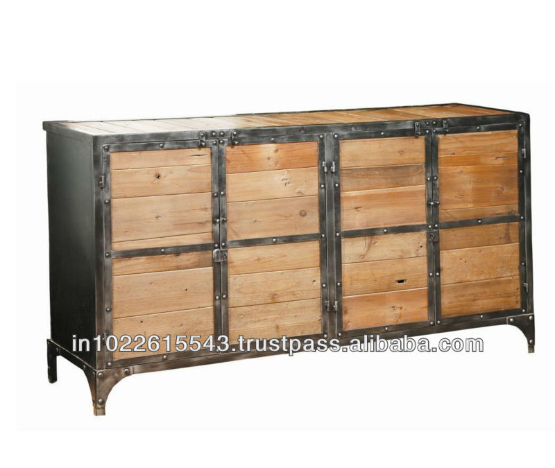 Industrial Mango Wood Sideboard With Iron Frame/ Sideboard with Storage Cabinet