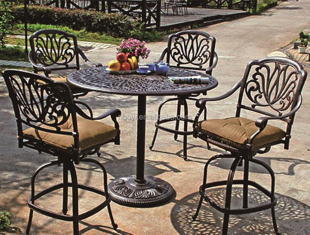 All weather resistente rotondo tavolo da pranzo e sedie patio esterno giardino in metallo mobili - Leuningen smeedijzeren patio ...