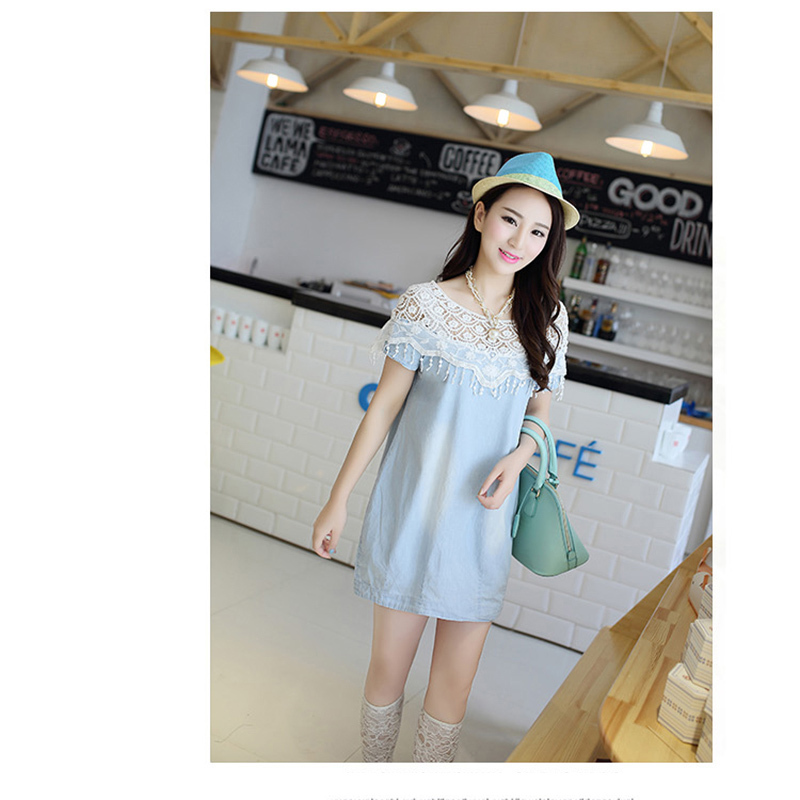 Get Quotations · 2015 summer fashion put together cute cotton dress for maternity  women plus size casual cowboy dresses 03fd922598bc