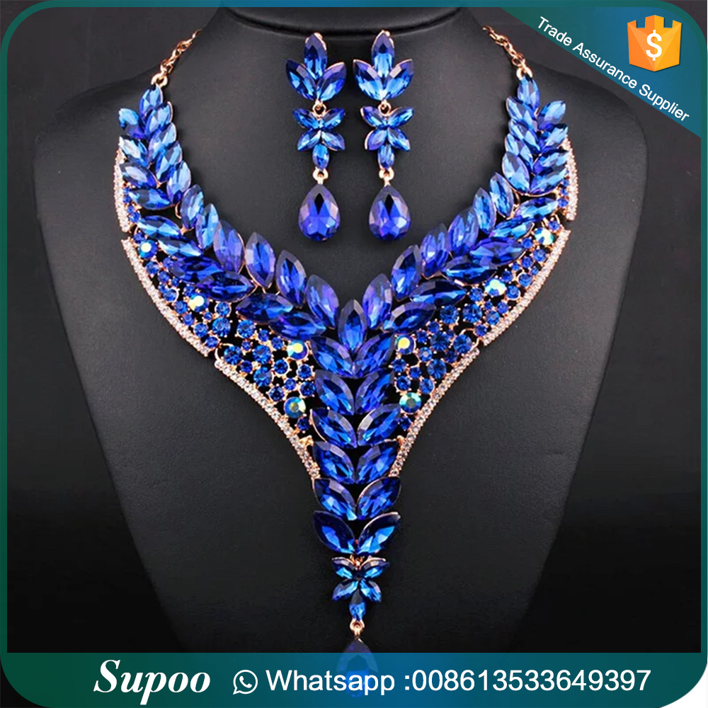 high latest bridal african detail artificial necklace sets set fashion product diamond beads party jewelry big design settings