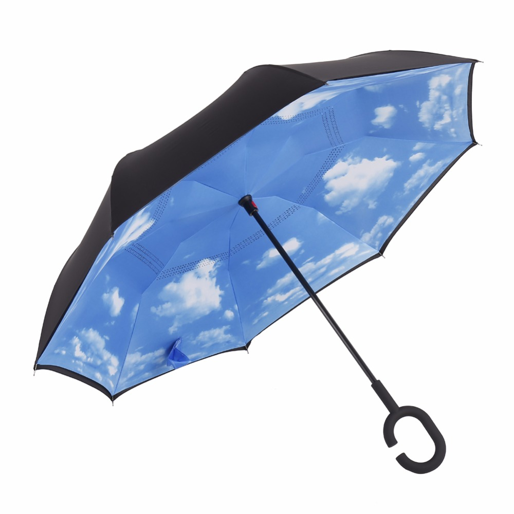 Windproof Double Layer Upside Down Inverted Umbrella Reverse Umbrella for Car Rain Outdoor With C-Shaped Handle