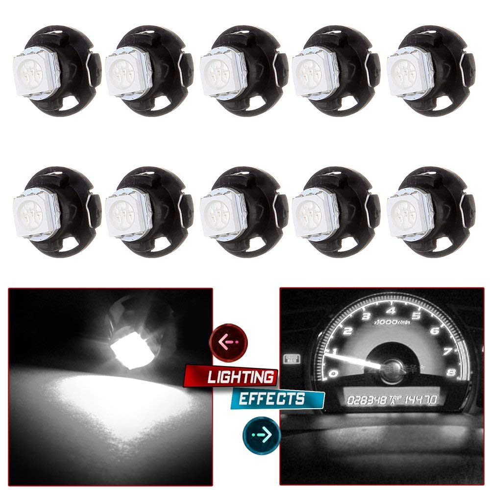 cciyu 10 Pack Warm White T5//T4.7 Neo Wedge Halogen Instrument Dash A//C Climate Control Bulbs 12V