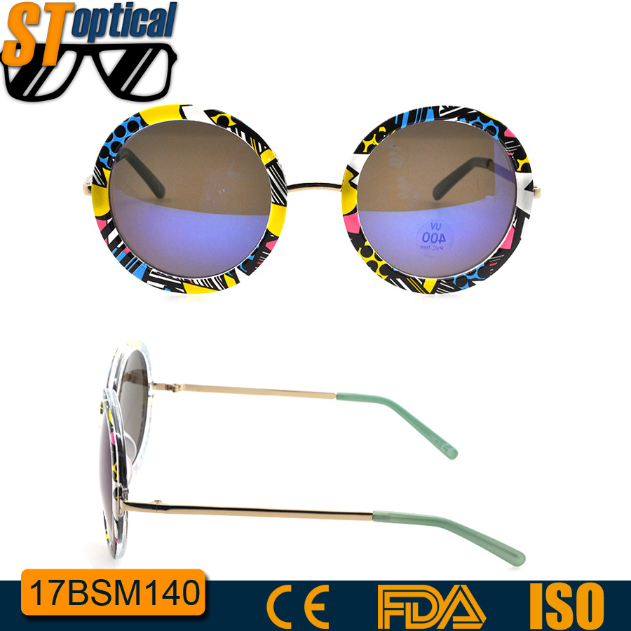 high quality women fashion metal plastic sunglass private label round sunglasses