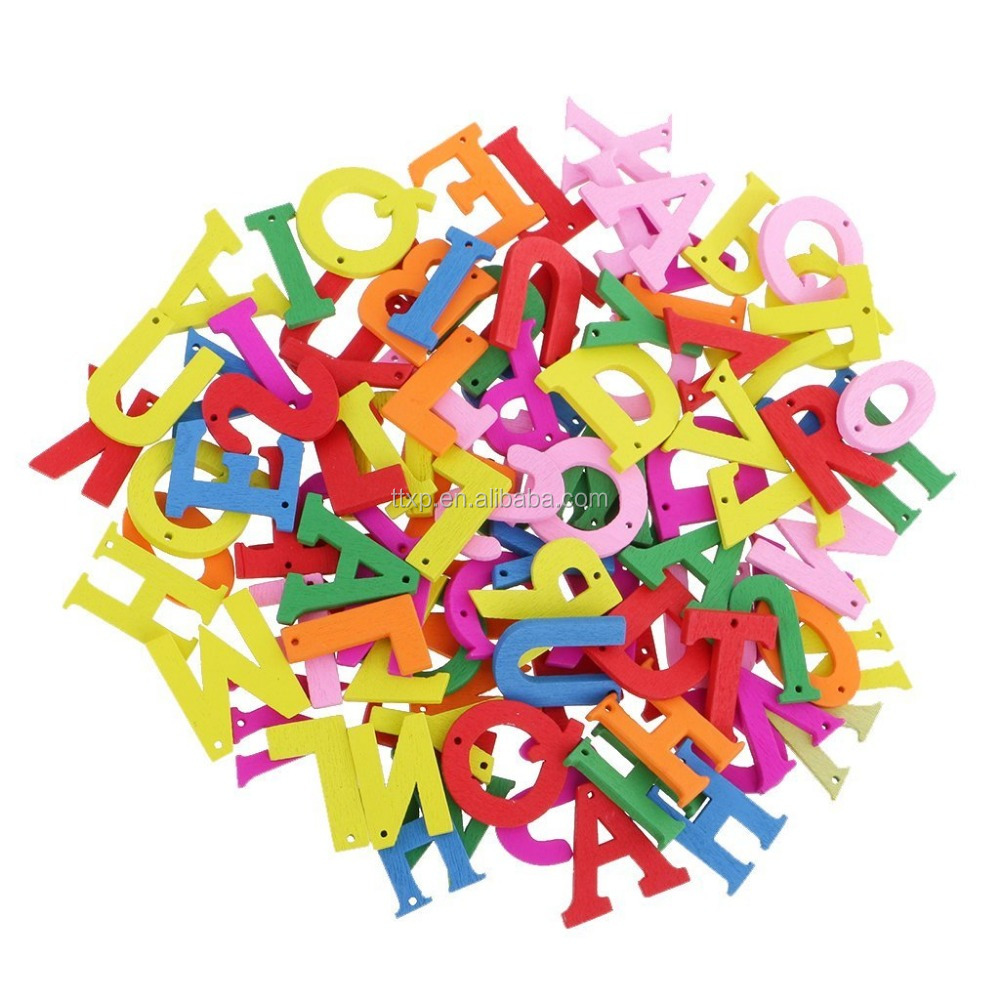 Colorful Alphabet A to Z Letters Wooden Buttons DIY Sewing Craft Scrapbooking Card DIY
