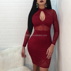 New Design Hot Selling Long-sleeved Sexy Fashionable Body Repair Lace Package Hip High Quality Hollow Round Neck Dress