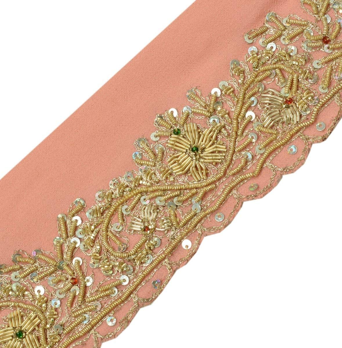 Reasonable Vintage Sari Border Antique Hand Beaded Trim Sewing Pink Zari Lace Embellishments & Finishes Trims