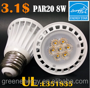 led spotlight UL&Energy star listed 3year warranty 8W dimmable par 20 led light bulb