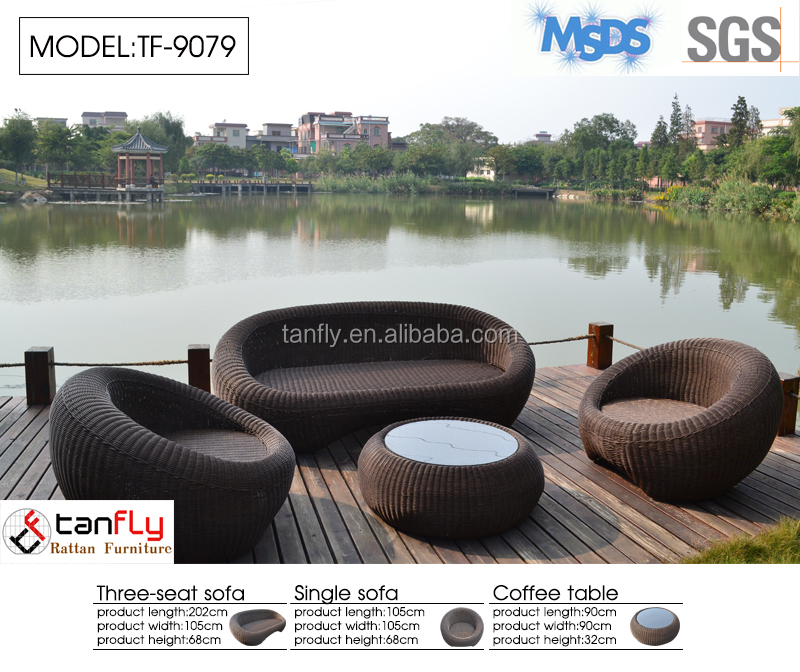 circular sofa flat rattan and waterproof cushion