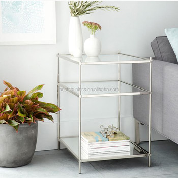 Stainless Steel Three-layer Glass Sofa Side Table Living Room Corner ...