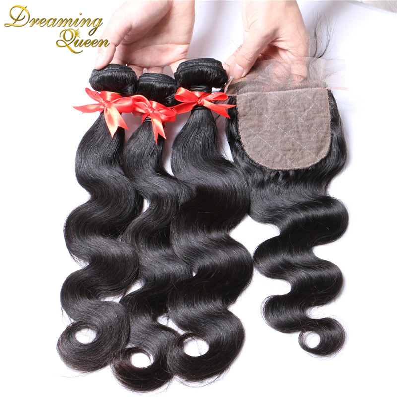 Silk Base Closure With Bundles 7A Brazilian Virgin Hair With Closure Body Wave 4 Pcs Lot