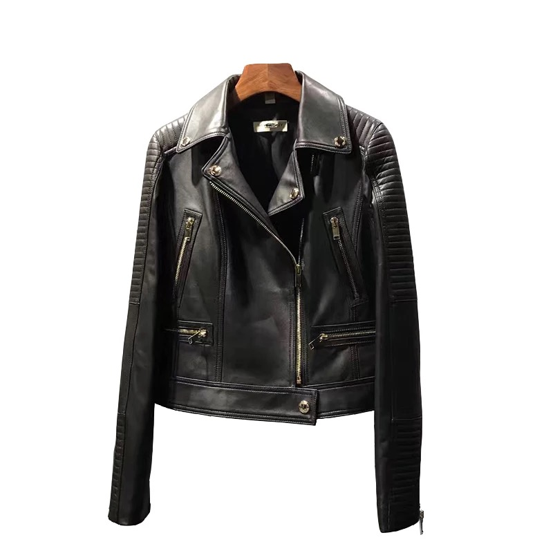 Women Genuine Sheep Leather Jacket Lady Short Sheepskin Biker Jacket Slim Natural Lambskin Coat 100% Real Sheep Leather Jacket