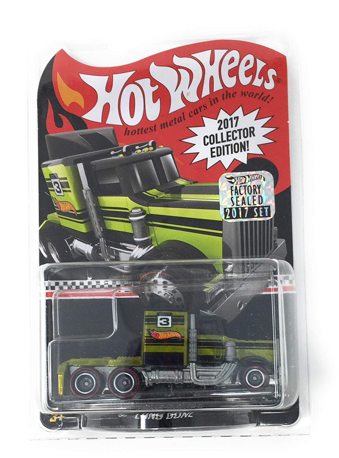 Hot Wheels Long Gone Green Tractor Trailer 2017 Collectors Edition 1/64 Scale Diecast Truck