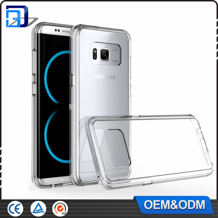 Crystal Clear Transparent PC Hard Back Acrylic Cover With Clear Gel Silicone Bumper Shockproof Case for Samsung Galaxy S8