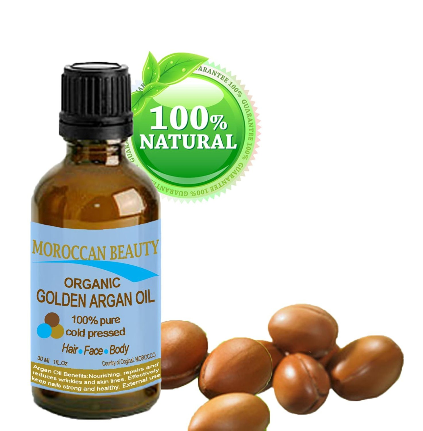 Moroccan Beauty Golden Argan Oil, 100% Pure/ Natural, Certified Organic, for Face, Hair, Nails and Body. 1 oz-30 Ml