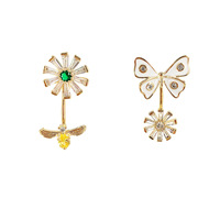 timepieces jewelry eyewear Korean minimalist gold asymmetry cz flower butterfly earrings fashion fashion jewellery 2019