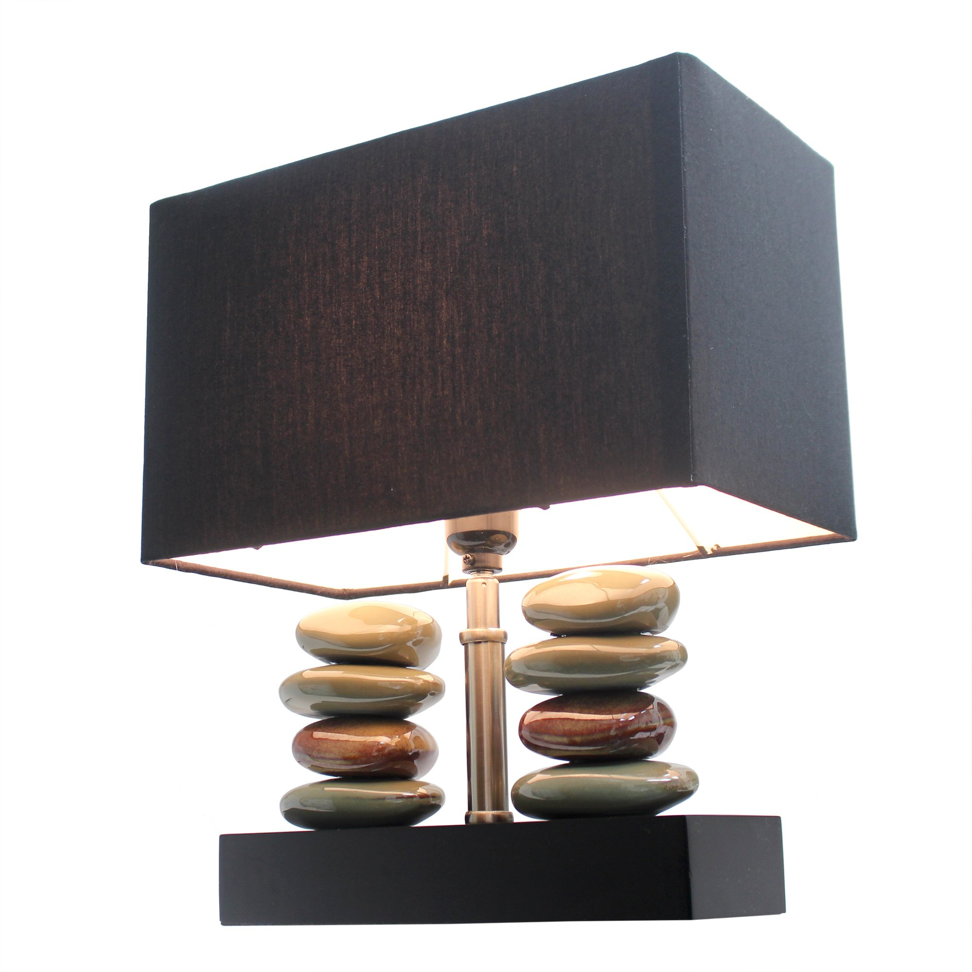 "Elegant Designs LT1036-BLK Rectangular Dual Stacked Stone Ceramic Table Lamp, 14.5"" x 12"" x 6.3"", Black"