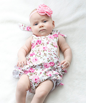 b3854c1dece New Fashion Baby Girl Suit Include Floral Bubble Romper And Headband Pretty  Kids Wear Infant Clothing