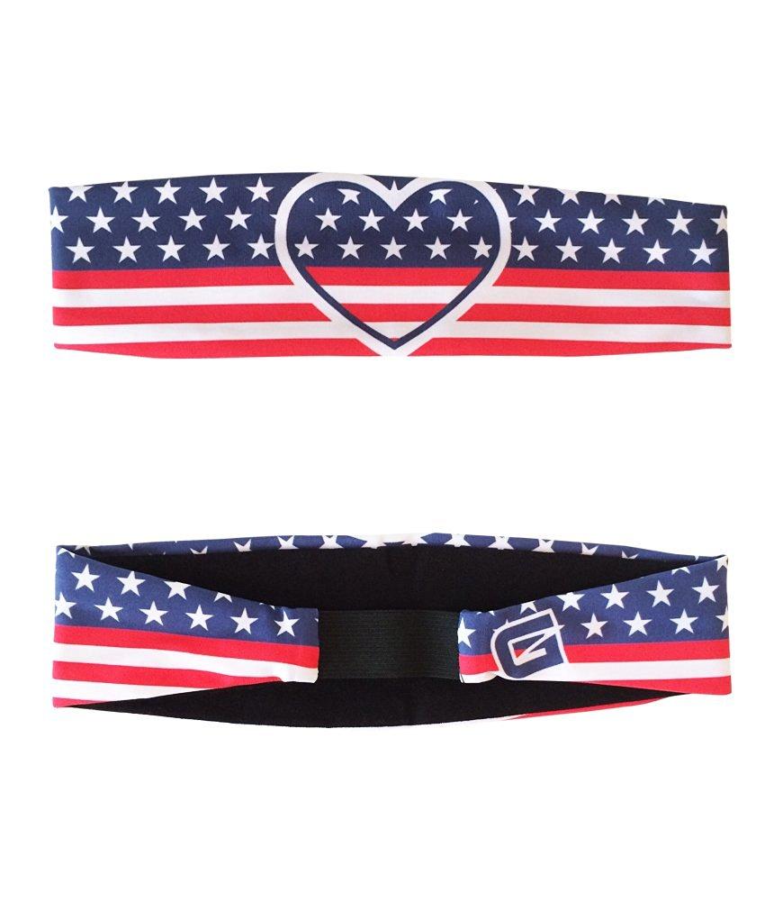 G206 Wear USA Hearts Athletic Headbands