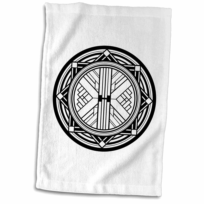 3dRose Russ Billington Art Deco Designs - Black and White Circular Geometric Art Deco Design - 12x18 Towel (twl_241445_1)