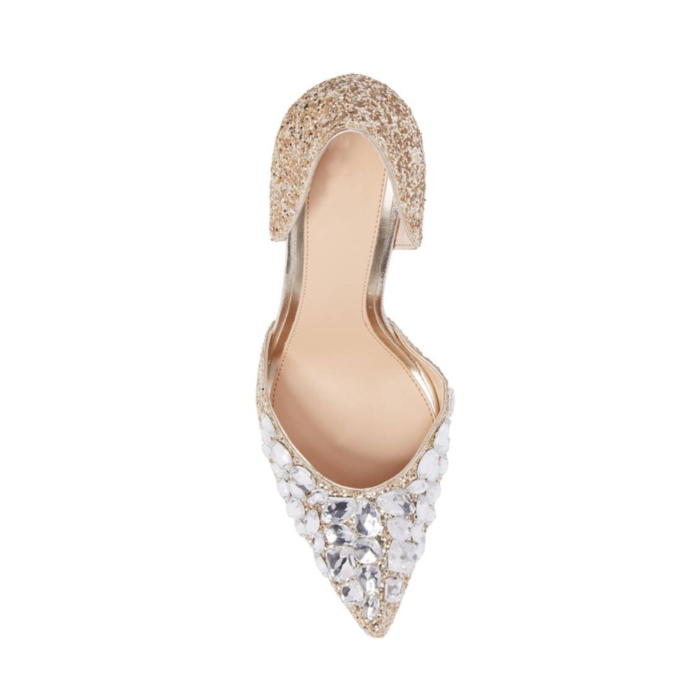 Glitter Heel Toe Shoes Women Mid Pointed Pumps Hr0AwqH